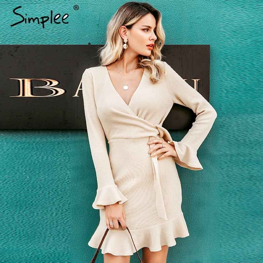 Streetwear Women Knitted Dress V-Neck Ruffled Long Sleeve Sweater Dress