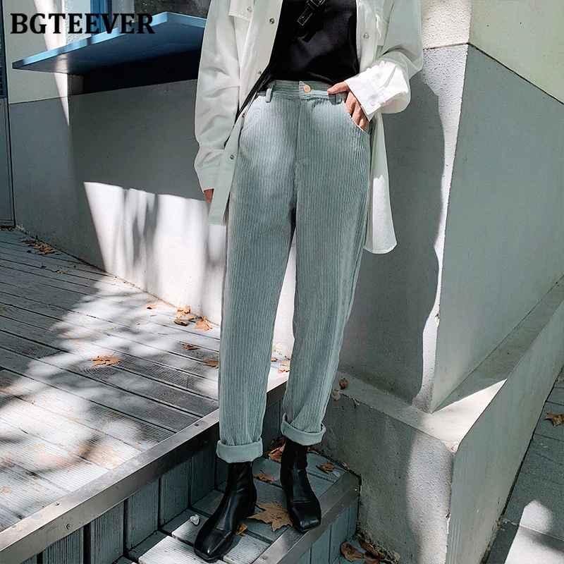 Pants bgteever autumn winter women corduroy pants fashion high waist