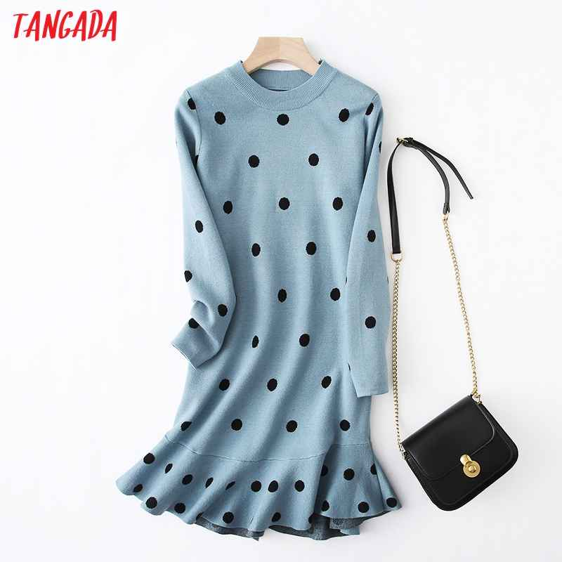 Sweaters tangada women dots knitted sweater dress elegant long sleeve