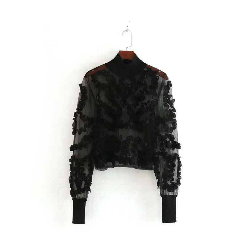 Blouses new women sexy appliques transparent casual black shirts blouses