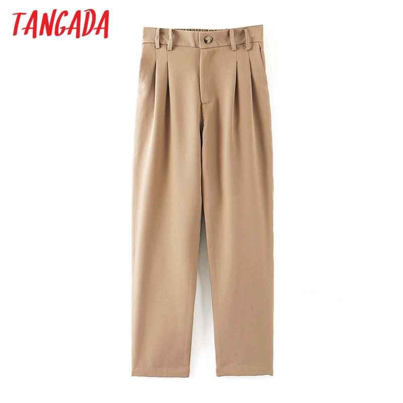 Pants tangada fashion women khaki suit pants trousers pockets pleated