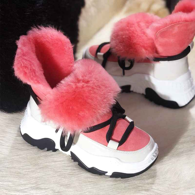 Genuine Leather Female Snow Boots Winter Boots Women Flat Plus