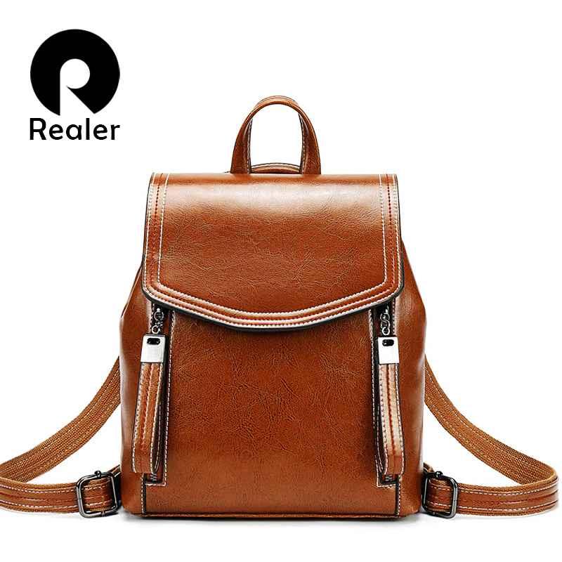 Women Backpack School Bags For Teenager Girls Leather School Backpack