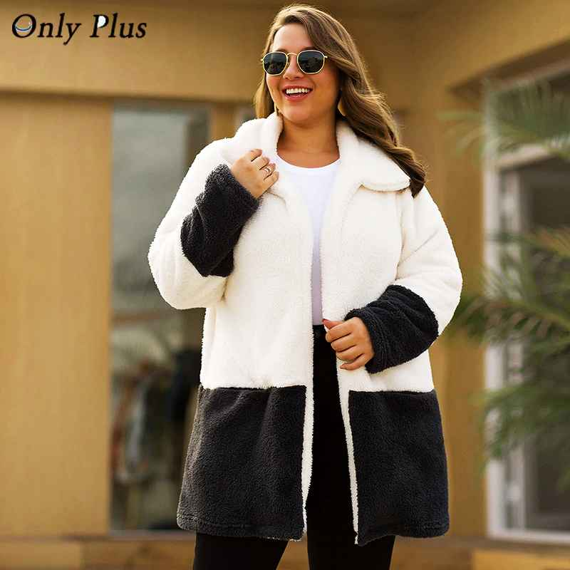 Only Plus Winter Velvet Coat Long Warm White Coats Cardigan