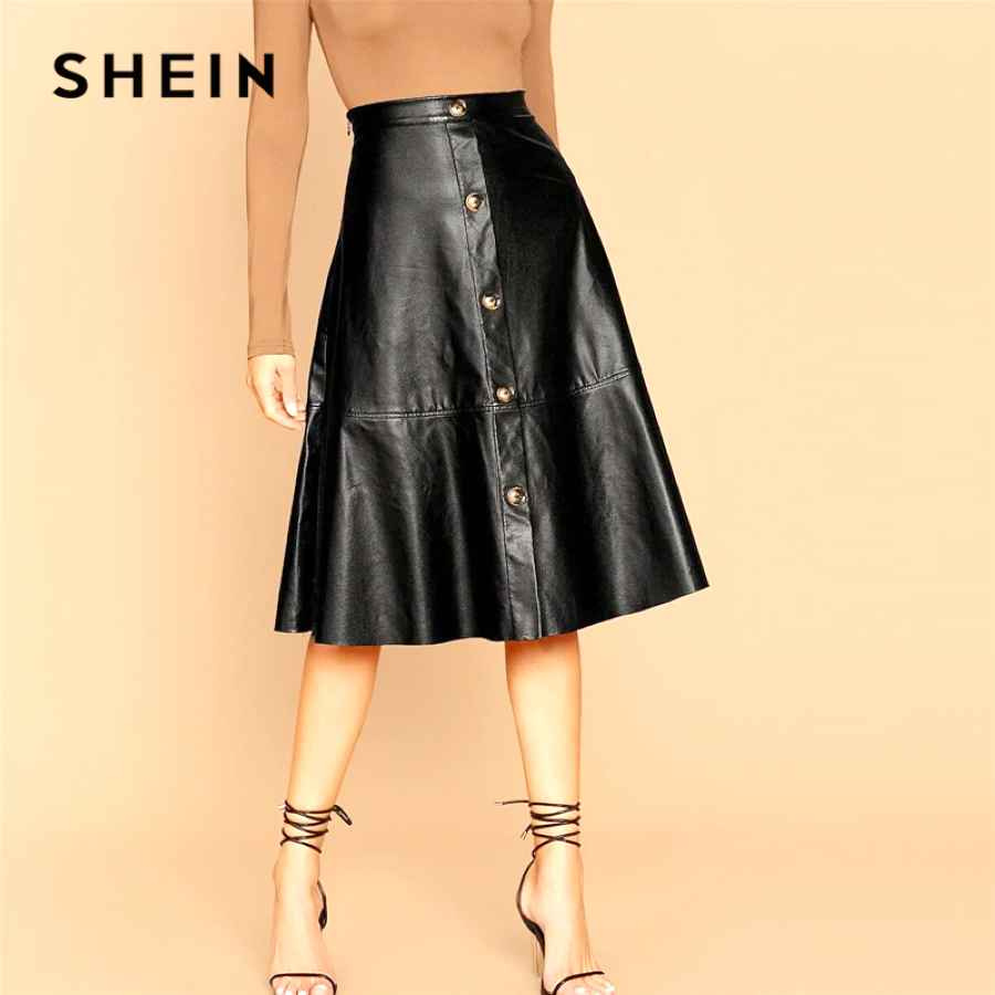 Black Solid Single Breasted Leather Elegant Midi Skirt Women 2019