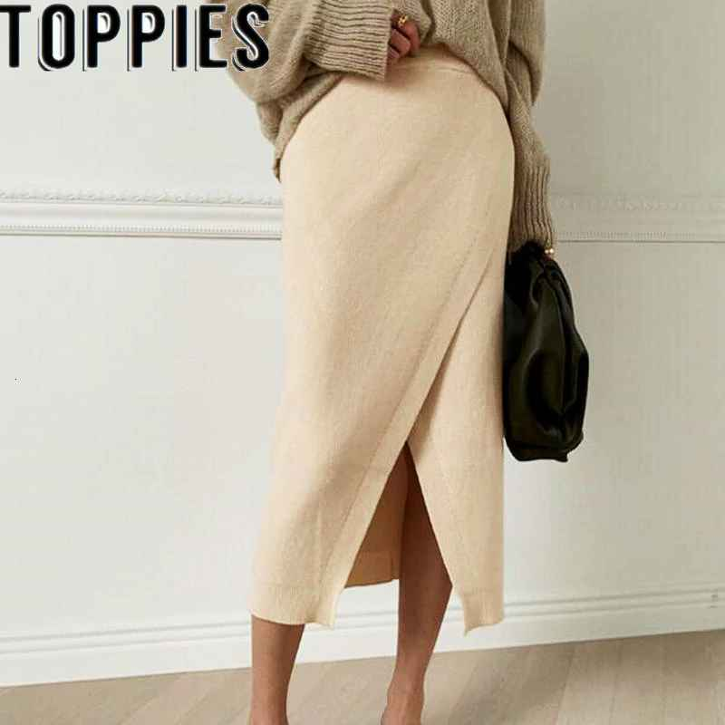 Skirts woman autumn solid color thickening knitting skirt high waist