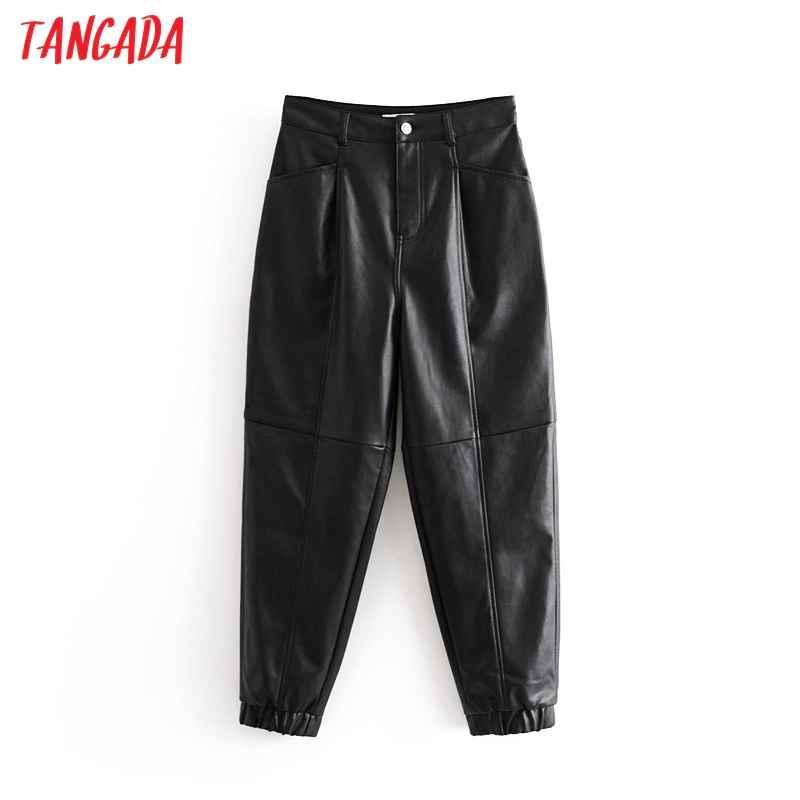 Pants tangada women black pu leather harm pants female 2019
