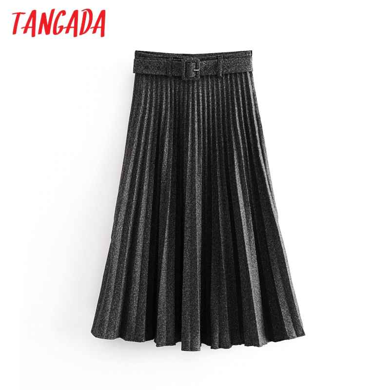 Skirts tangada women gray pleated midi skirt faldas mujer 2019