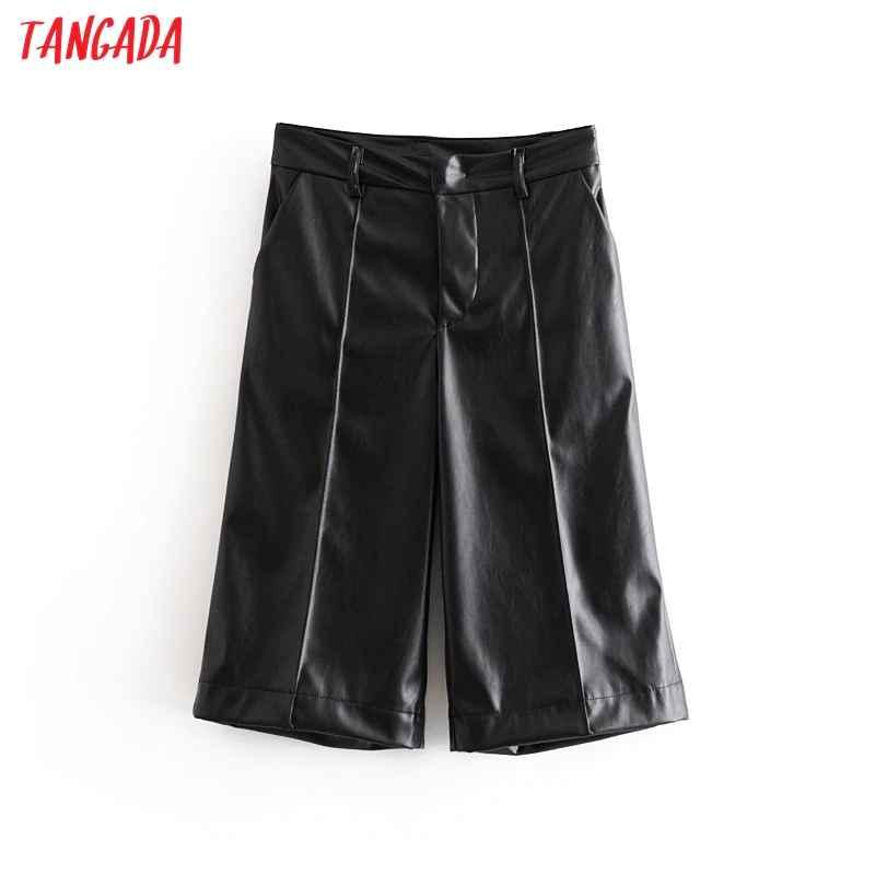 Pants tangada fashion women faux leather black pants trousers pockets