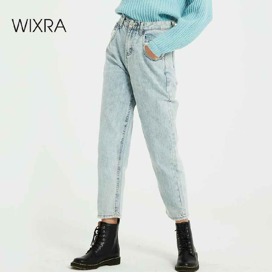 Pants wixra 2019 new solid bf casual womens denim pants