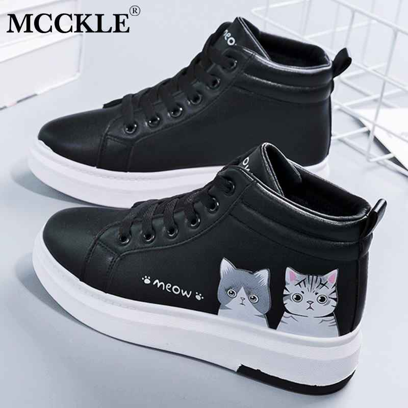 Mcckle Womens High Top Sneakers Cute Women Lace Up Vulcanized