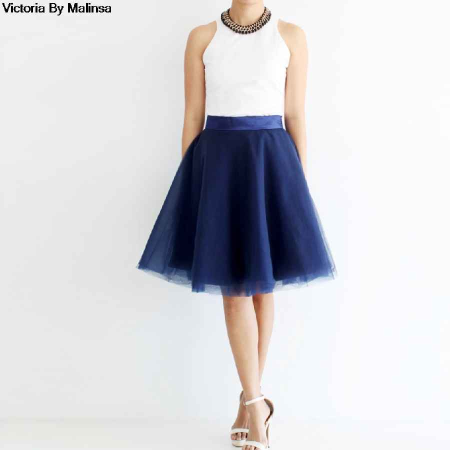 Skirts summer womens navy blue mini tulle skirt fairy custom