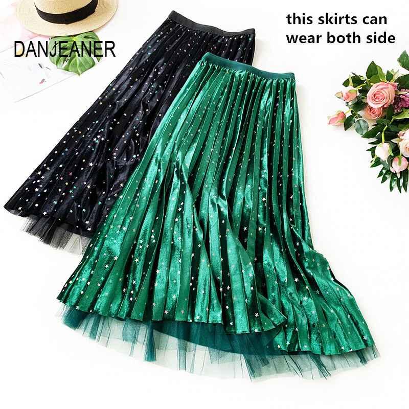Skirts danjeaner colorful stars velvet pleated skirt autumn winter high