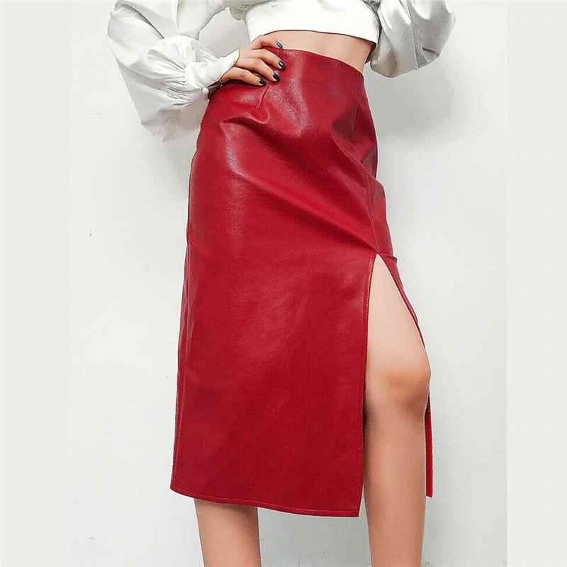 Skirts fashion pu leather skirts women modern ladies split high