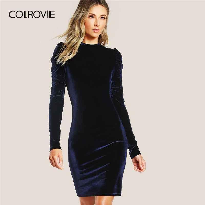Colrovie Navy Puff Sleeve Velvet Pencil Dress Women Solid Long