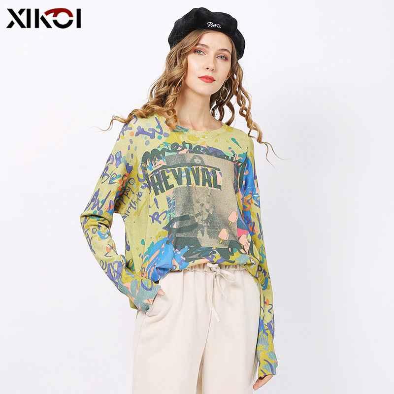 Xikoi Autumn Winter Loose Print Sweater Womens Pullover Plus Size