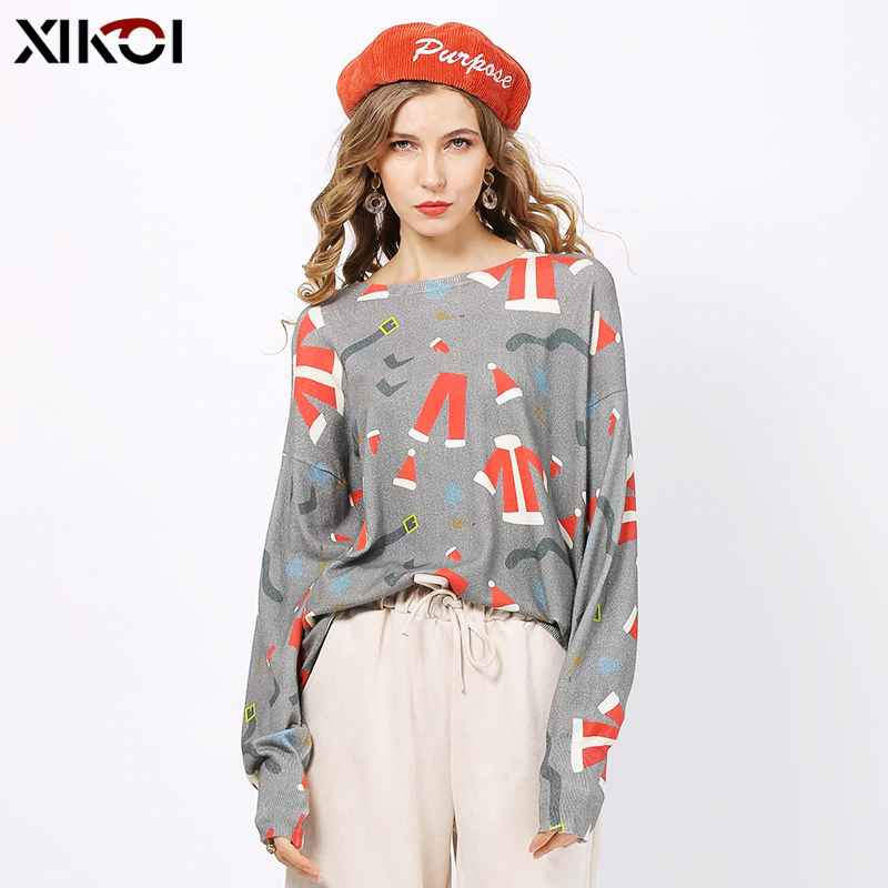 Xikoi Autumn Winter Women Knitted Christmas Print Sweater Dresses Casual
