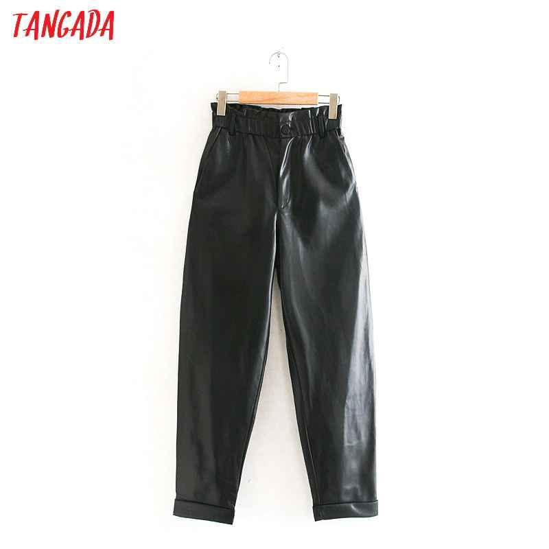 Pants tangada women pleated high waist black pu leather harm