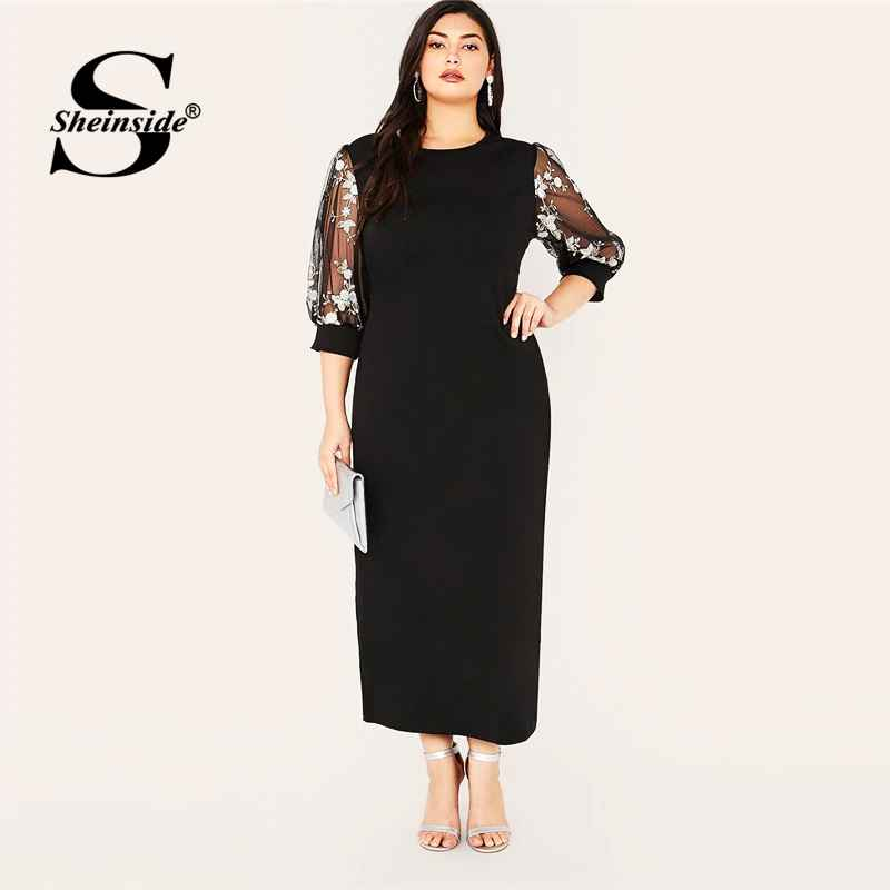 Plus Size Black Elegant Contrast Embroidery Mesh Dress Women 2019