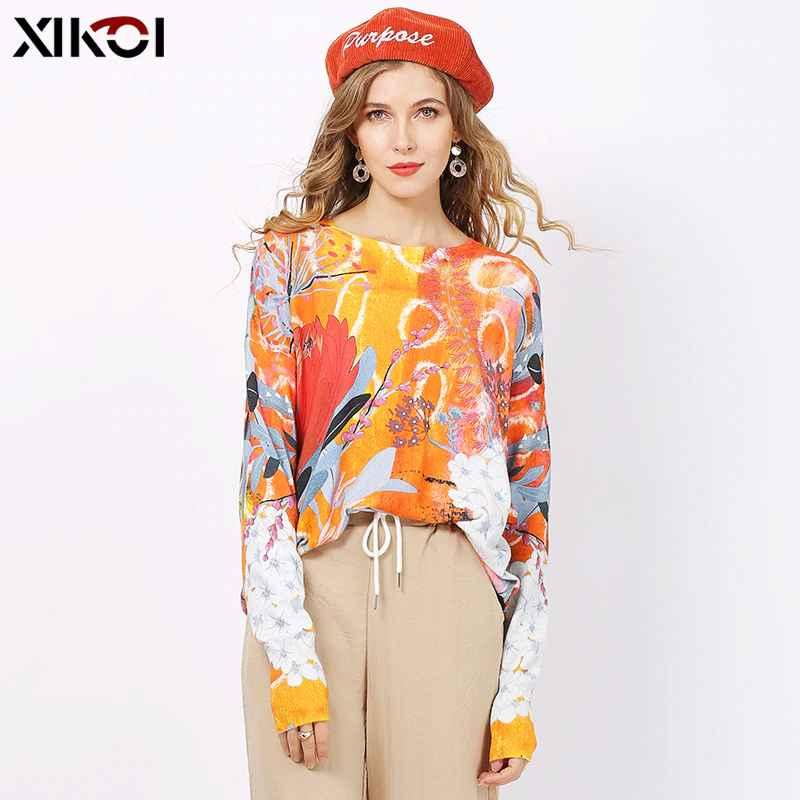 Xikoi Fashion Print Sweater For Women Winter Oversized Pullover Autumn