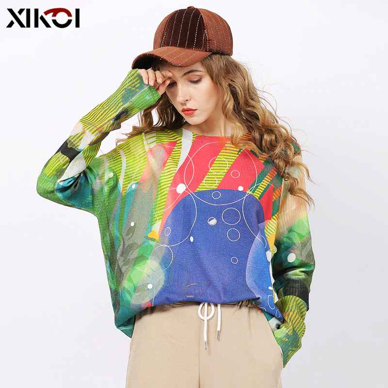 Xikoi Women Winter O-Neck Print Sweaters Jumper Knitted Pullovers Tops