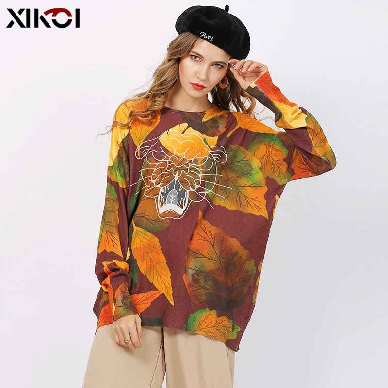 Xikoi New Tiger Print Sweaters Women Winter Oversized Jumper Knitted