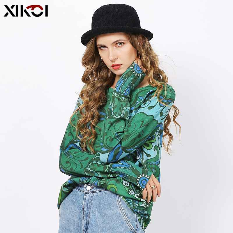 Xikoi Green Long Sweaters For Women Winter Fashion Totem Print