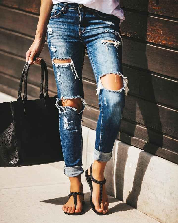 Jeans boyfriend hole ripped jeans for women pants cool denim