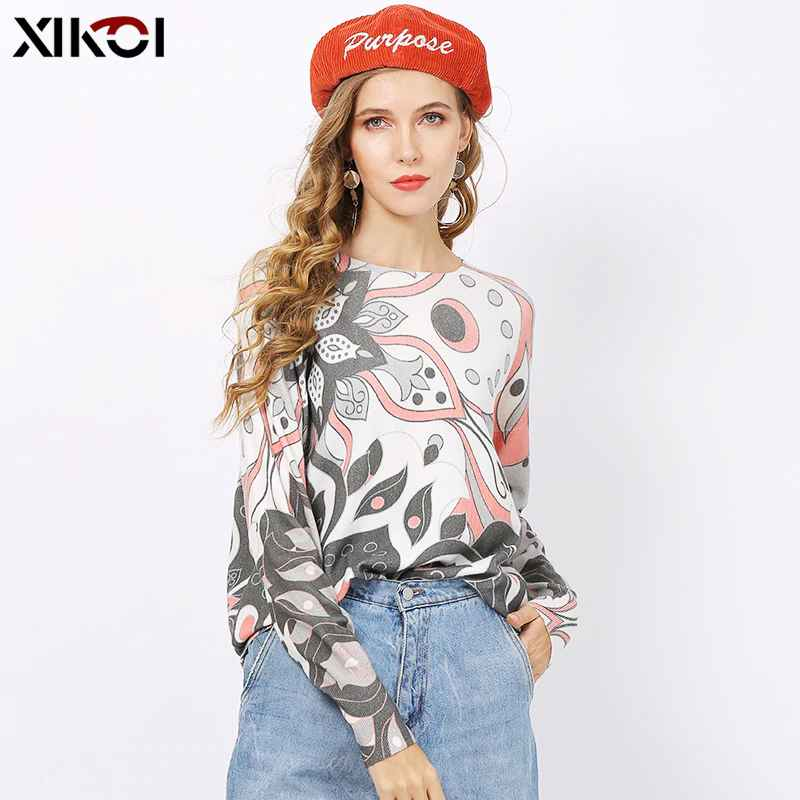 Xikoi Women Winter O-Neck Print Pink Sweaters Jumper Knitted Pullovers