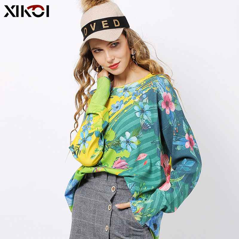Xikoi Winter Flowers Print Sweater Women Pullovers Knitted O-Neck Jumper