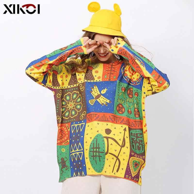 Xikoi Novel Print Oversized Sweaters Women Winter O-Neck Basic Pullovers