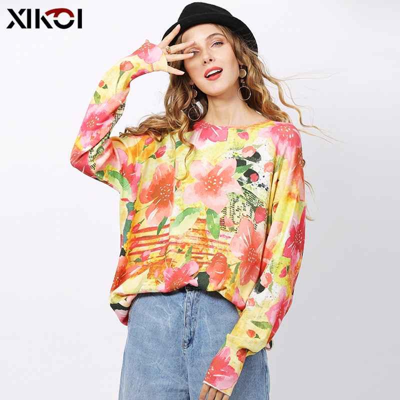 Xikoi Fashion Pink Flowers Print Sweater For Women Winter Long
