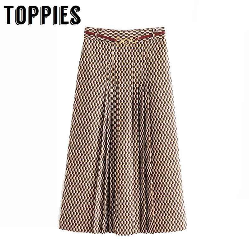 Skirts pleated skirts women printing midi skirts high waist lady