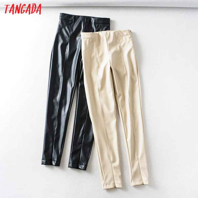 Pants tangada women white skinny pu leather pants stretch zipper