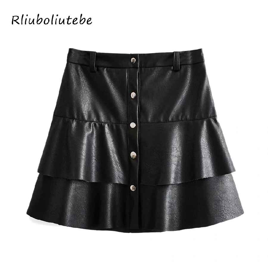 Skirts ruffles sexy pu leather mini skirts women buttons autumn
