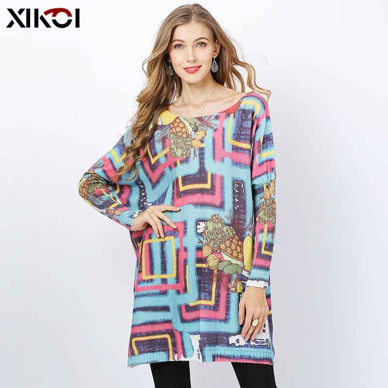 Autumn Winter Wool Knitted Sweaters Dress Women Batwing Sleeve Pullover