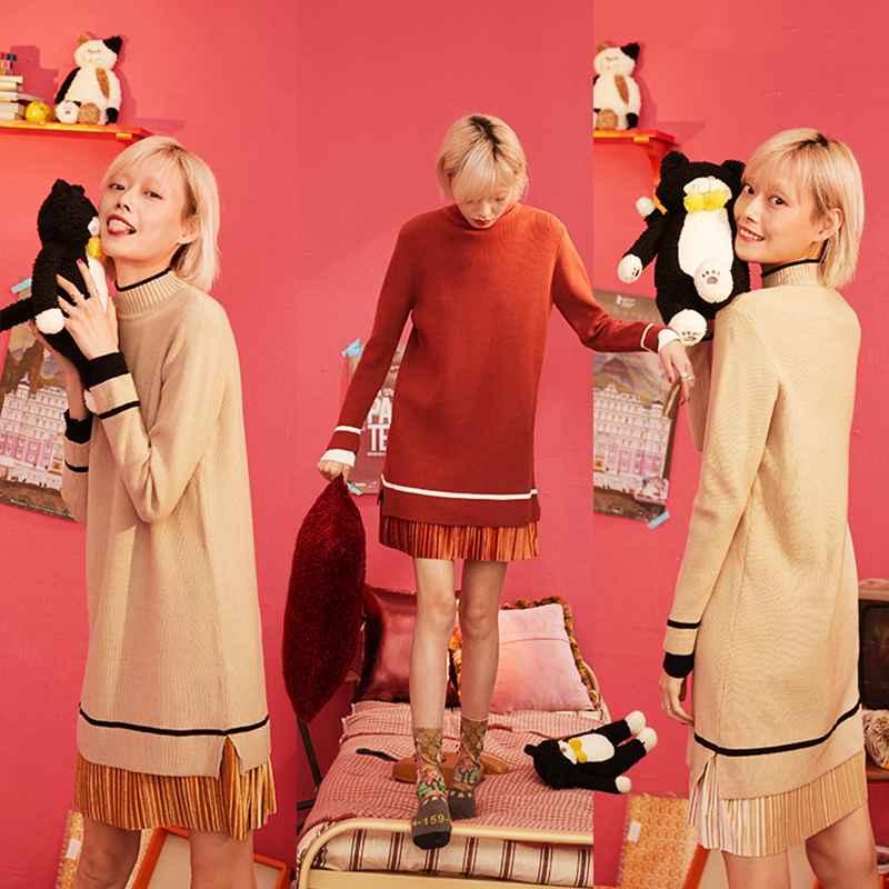 Sweaters sams tree khaki contrast trim elegant pleated knitted dress
