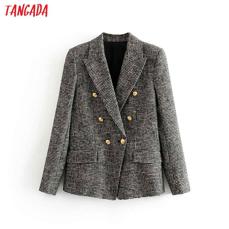 Blazers tangada women warm winter double breasted suit jacket office