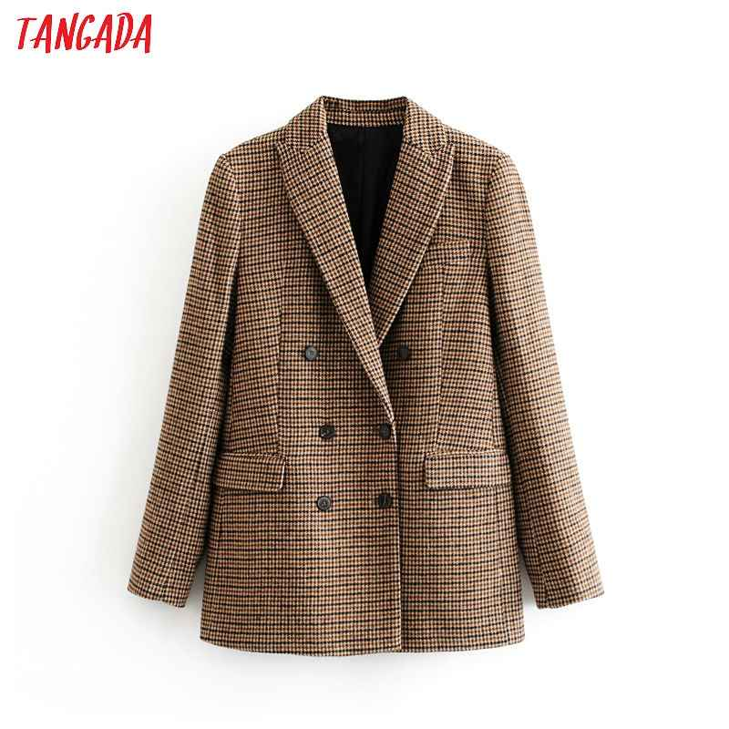 Blazers tangada women stick winter double breasted suit jacket office