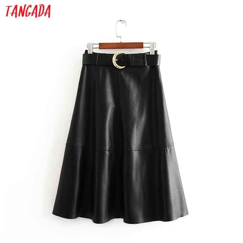 Skirts tangada women black pu leather midi skirts with slash