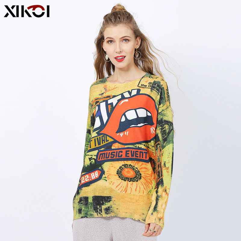 Xikoi New Oversized Sweater For Women Winter Fashion Mouth Print