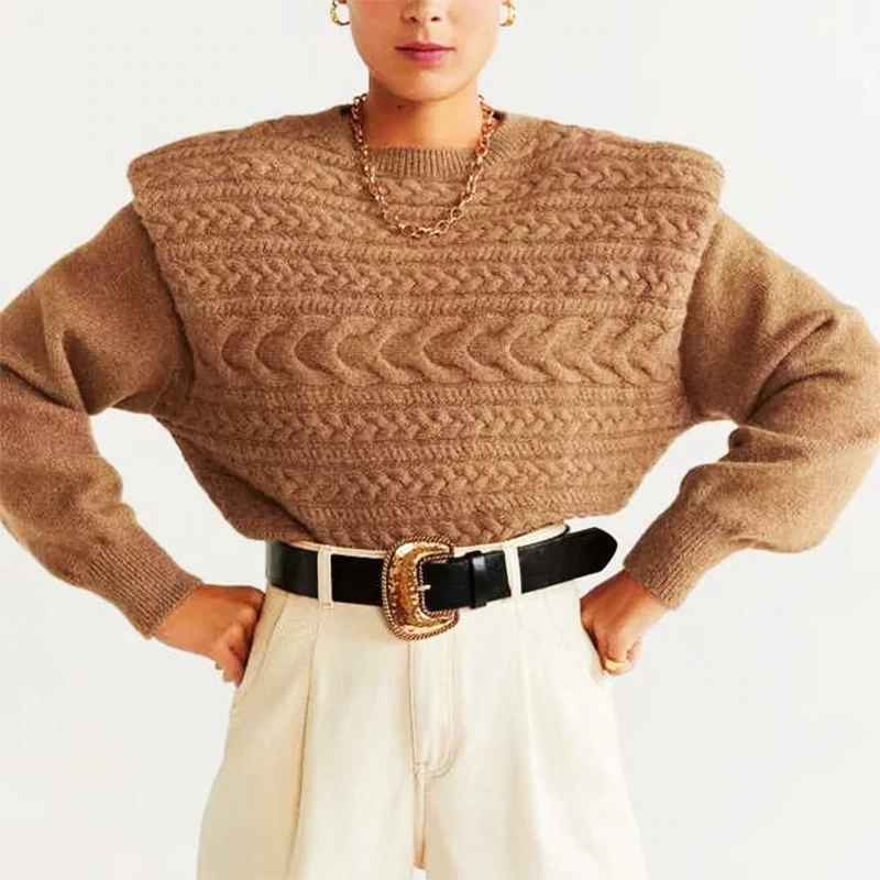 Sweaters za style autumn winter womens warm tops knitted wide