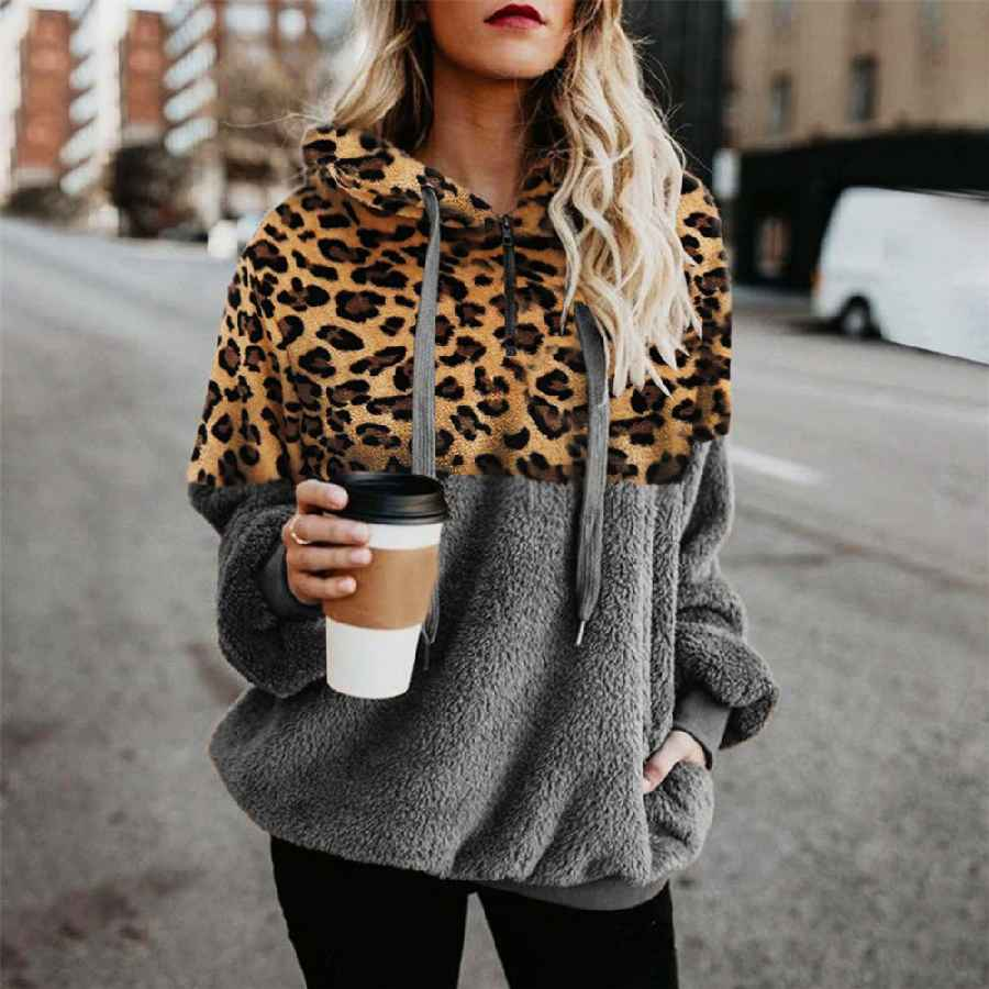 Sweaters leopard teddy sweater hooded oversized sherpa pullover new plus