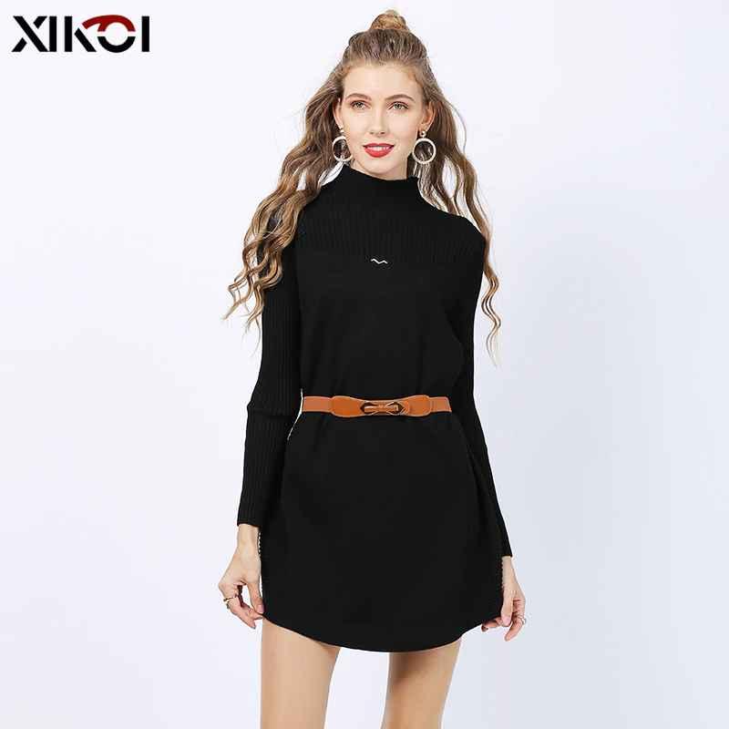 Xikoi Plus Size Turtleneck Long Sweater Dress Knitted Oversized Christmas