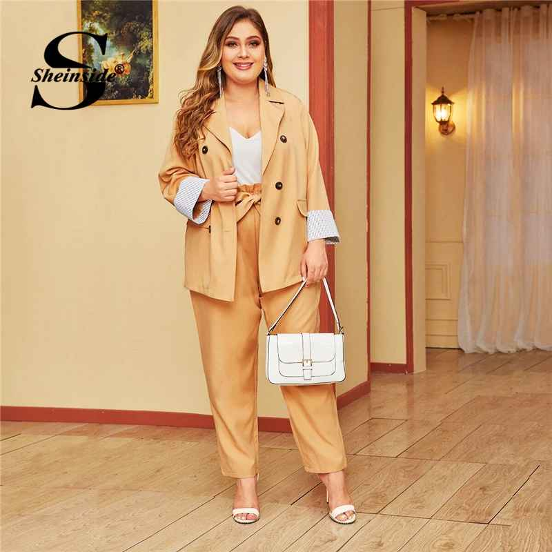 Plus Size Double Breasted Blazer And Belted Pants Set Women