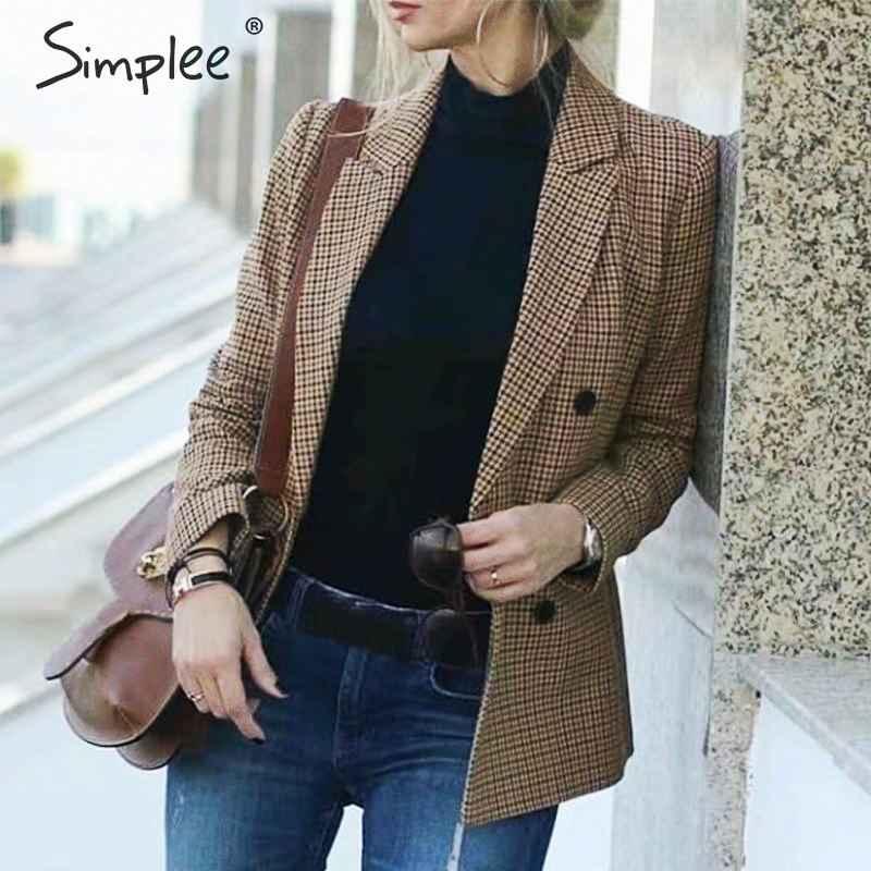Vintage Plaid Women Blazer Coat Long Sleeve Button Pockets Streetwear