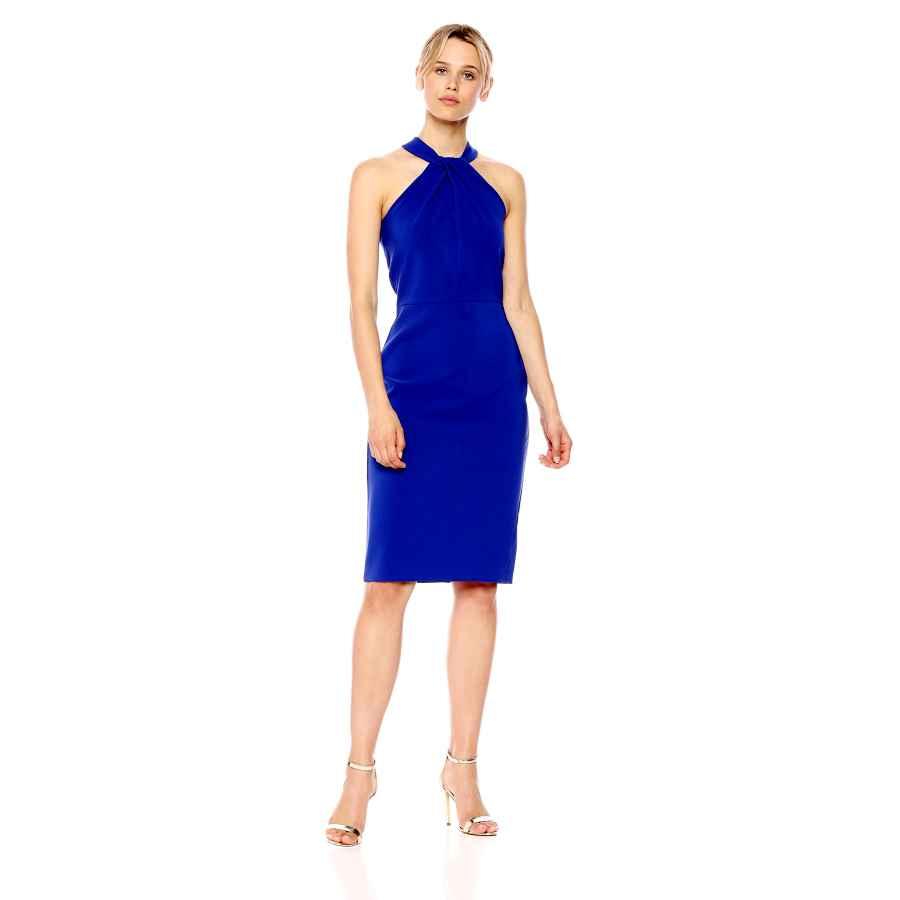 Party Dresses Taylor Dresses Women's Knot Neck Sheath Halter Dress
