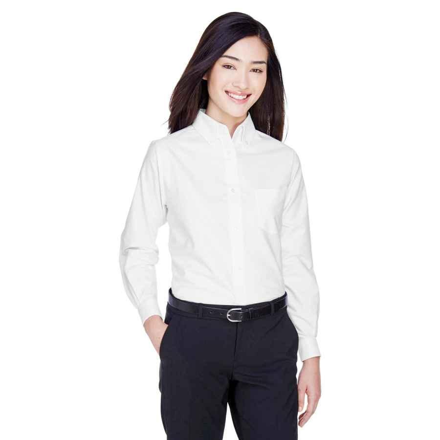 Blouses ultraclub women's wrinkle-free long sleeve oxford shirt