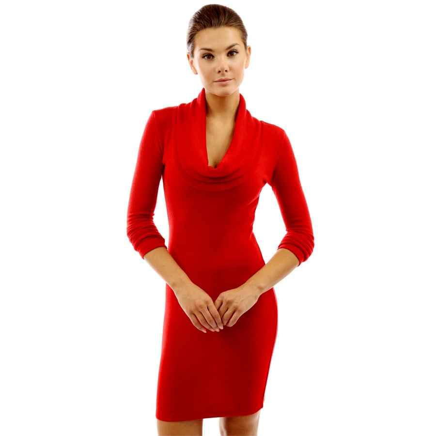 Womens Casual Dresses Pattyboutik Women Cowl Neck Long Sleeve Knit Dress