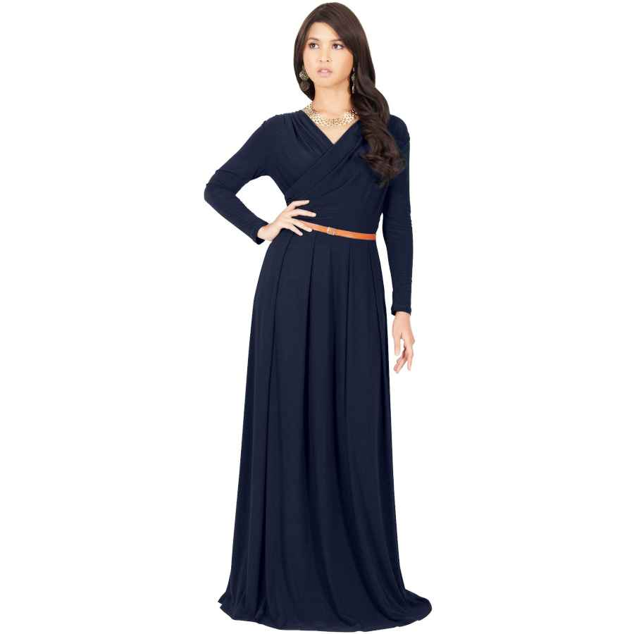 Womens Casual Dresses Koh Koh Womens Long V-Neck Full Sleeve Semi Formal Flowy Evening Cute Maxi Dress